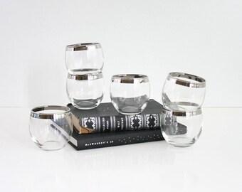 Dorothy Thorpe Roly Poly Glasses / Mid Century Modern Mad Men Tumblers / Silver Rim Barware / Retro Cocktail Glasses / Mid Century Barware