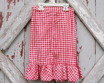 handmade 1970s gingham western skirt - girls 9/10 11/12