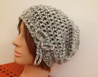 Natural Crocheted Slouch Hat 60/16