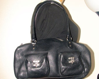 Vintage Black Pebbled Leather CYNTHIA ROWLEY Satchel