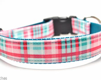 Teal and Pink Plaid Dog Collar / Preppy Girl Plaid / Martingale or Buckle