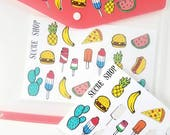 Fun Icon Stickers Pineapple Cactus Popsicles - 2 Sheets of 19 stickers