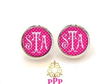 Pink Polka Dot Monogram Earrings, Monogram Stud Earrings, Monogram Jewelry  (350)