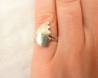 Vintage Sterling Silver Broken Heart Ring Size 5 1/2