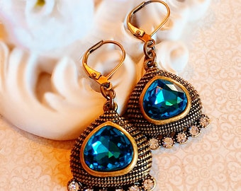 Egyptian Earrings - Teal - Statement Earrings - Crystal - CLEOPATRA Teal