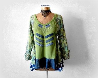Upcycle Smock Top Green Women's Tunic Loose Denim Shirt Boho Chic Clothing Mori Girl Clothes Long Sleeve Tunic Lagenlook Top Large 'GEMMA'