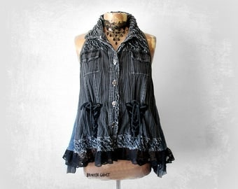 Black Denim Shirt A-Line Swing Top Rustic Clothing Corset Lace Up Frayed Tattered Women's Boho Vest Recycled Clothes Art To Wear XL 'MELANIE