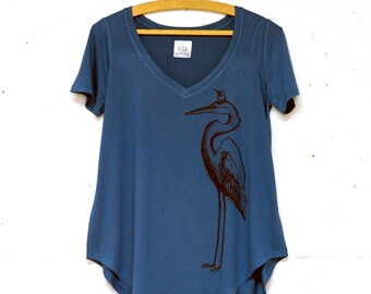 Heron and Feathers Ladies Bamboo Vneck Tshirt