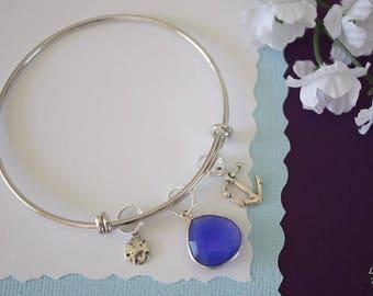 Beach Bangle Bracelet Silver, Anchor Charm, Sand Dollar Charm Bangle, Expandable, Sterling Silver, Nautical, Charm Bracelet, Vacation