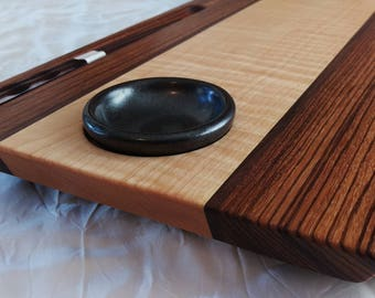 Large Size Zebrawood and Figured Maple Two Person Sushi Board w/ Sauce Dishes