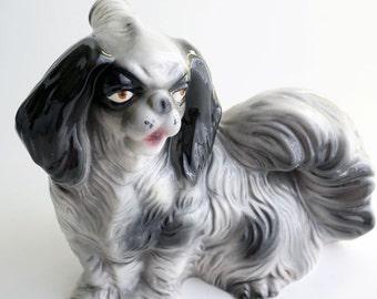 Vintage decanter, ceramic dog, Japanese Chin, Pekingese, Shih Tzu, Mica Italy