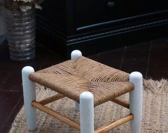 Vintage wooden rush foot stool, restored oak stool farmhouse country home decor early 1900's