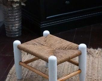 Vintage rush stool restored