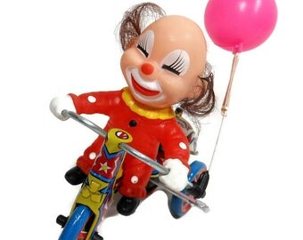 Vintage Mechanical Wind Up Toy | Metal Tin Tricycle | Vinyl Clown | Pink Balloon | Revolving Chime Bell | Mid Century Toy | Gift Under 25