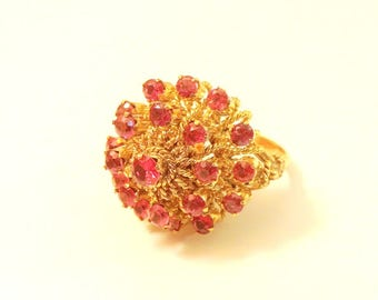 1960's ruby sun burst ring