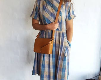 Vintage Check Cotton Dress, Medium to Large