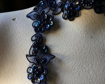Navy Blue  Beaded Trim Lace Flower Trim for Lyrical Dance, Bridal, Garters, Headbands, Costumes BL 4038nb