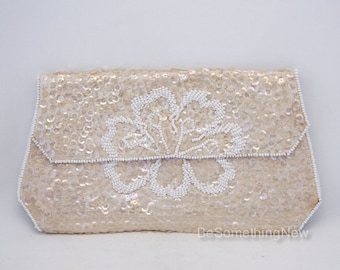Vintage Sequin Beaded Wedding Clutch in Champagne Ivory Wedding Purse Beaded Clutch Vintage Beaded Small Purse Formal Hand Bag Made in Japan