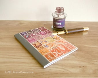 Sunset Bujo, Pocket Bullet Journal Notebook | Purple Orange Recycled Postage Stamp Collage Art | Numbered pages, index, A6 any year diary