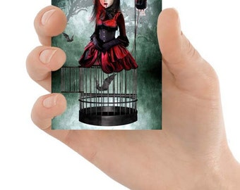 Vampire ACEO Card - Gothic Art - Vampire And Bats - Miniature Art - Bats ACEO Card -  A Prisoner In My Own Body