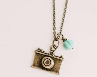 SUPER SALE. Camera Love pendant. vintage, camera, camera necklace, Antique Gold, silver vintage inspired, camera lovers, for photographers.