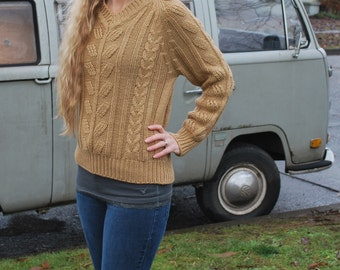 Vintage Women's Knit Sweater Light Brown Classic Sweater