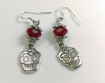 Cranberry red velvet opaque crystal with silver sugar skull charm earrings