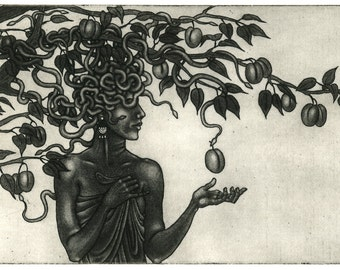 Original etching: 'Medusa in the Plum Tree' - draped female figure, Snake-haired goddess or monster or woman, inspired by Myth