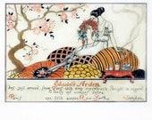 Art Deco Fashion Print Illustration, Elizabeth Arden Ad, Chic Girly Room Decor, George Barbier, Etienne Drian on Reverse, Vintage Wall Art