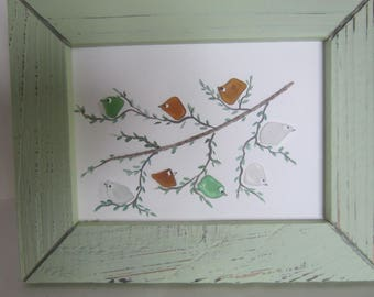 Sea Glass, Beach Glass , Hand Painted  Bird Picture