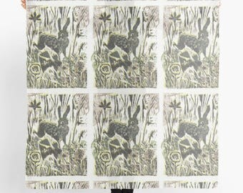 Art Deco Deer Block Print Art Scarf