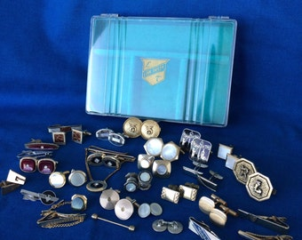 Huge Vintage Cuff Links and Tie Clip Collection with Jewelry Box Atomic 50's Mad Men 60's Retro and Antique
