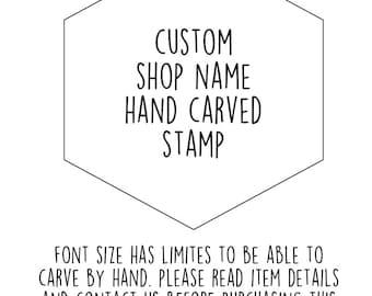 custom business stamp. personalized shop name hand carved rubber stamp. craft fair stamp. artist maker stamp. diy shop cards. read more info