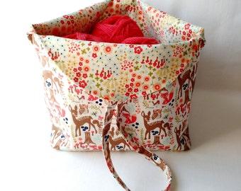 knitting crochet sock project yarn bag - Tulip Bag - drawstring WIP bag pouch purse - deer owl fox floral fabric - free knitting pattern
