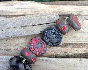 red ceramic beads Chocolate stoneware bead strand textured clay beads handmade ceramic bead strand spring beads designer beads artisan beads