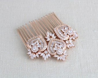 Rose Gold Bridal Hair Comb, Rose Gold headpiece, Rose Gold hair comb, Bridal Hair clip, Crystal hair comb, Rhinestone headpiece, EMMA