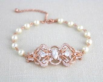 Rose Gold bracelet, Bridal bracelet, Bridal jewelry, Pearl bracelet, Wedding bracelet, Wedding jewelry, Art Deco bracelet,  VICTORIA