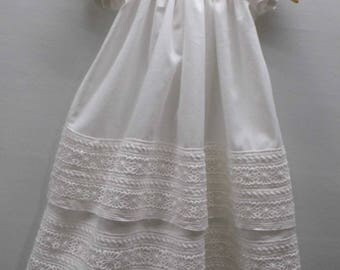 Lily cotton lace on linen baptism, blessing, christening gown, dress