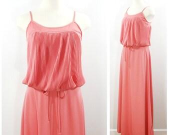 Vintage Maxi Dress, 70s Rose Pink Sundress, Long Grecian Dress, Romantic Flowing Maxi Dress, Pleated Blousey Long Sleeveless Dress Size S
