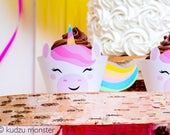 Cute Unicorn Printable Cupcake Wrapper DIY Instant Download File Cut Out and Wrap Around Cupcake for Rainbow Unicorn Birthday Party