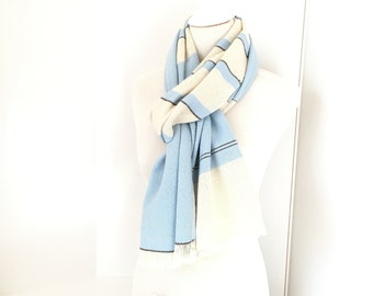 """Cashmere Scarf 20"""" x 80"""" with Merino Blue and White 20"""" x 80"""" Handwoven Scarf Unisex"""
