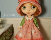 Pink Roses and Green Dots Outfit Set for Neo Blythe Doll Dress Hat Apron Easter