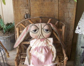 """Primitive Bunny Art Doll Baby Rabbit Shabby Cottage Chic """"Rosey"""" Pink Roses Ivory Hand Stitched Easter Ofg Hafair Faap"""