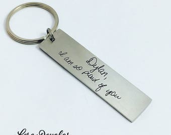 Handwriting Keychain, Custom Handwriting Accessories, Handwriting Key Ring, Engrave Your Handwriting, Handwriting Key Chain