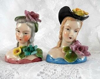 lady head figurines, mid century home decor, boudoir, 2 porcelain lady busts, hand painted, Japan, vintage