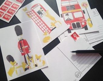 London Postcards / London Postcard Gift / Corgi Postcards / London Illustration / Dog Illustrations / Dog Postcard