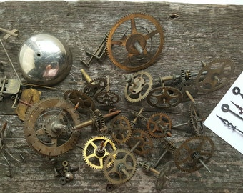 Clock Parts/Salvage Brass/Steampunk/Altered Art/Assemblage Supply/Industrial Mixed Media