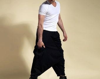 harem pants black man, sarouel black, gothic pants man