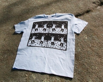 Chef on the Beach hand printed linocut T shirt