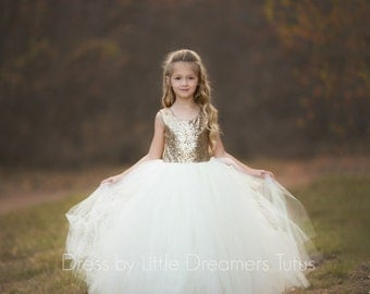 READY to SHIP - Size 6 - The Juliet Dress in Gold Sequins and Ivory - Flower Girl Dress